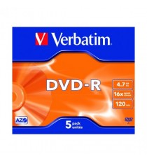 Verbatim DVD-R 4.7GB 16x Jewel Pk5 43519