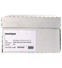 White Slf/Seal C5 Window Envelope Pk500