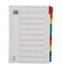 A4 Mylar 10-Part Wht/Col Tab Dividers