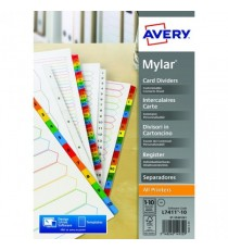 Avery Bright White 1-10 A4 Numeric Index