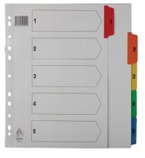 A4 Mylar 1-5 Multi-Colour Index