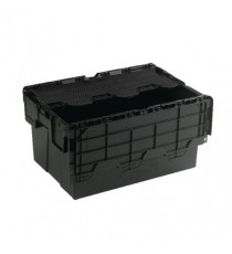 Attached Lid 54L Black Container 375814