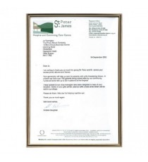 TPAC A4 Blk Gld Certificate Frame
