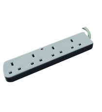Extention Lead 4Way Fused White