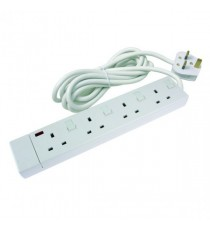 Extension Lead 4 Way White