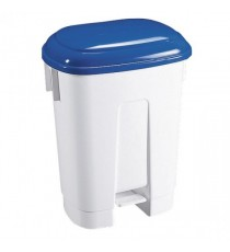 Derby 30L White/Blue Plastic Pedal Bin