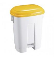 Derby 30L White/Yellow Plastic Pedal Bin