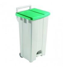 Plastic Pedal Bin Gry/Grn With Lid 90L