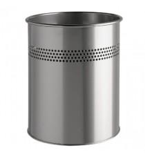 Durable 15L Cylinder Metal Bin Silv