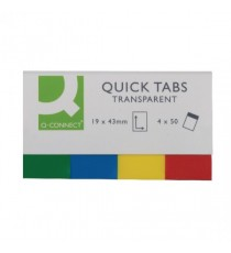 Q-Connect Quick Tabs 20x45 Transp Pk200