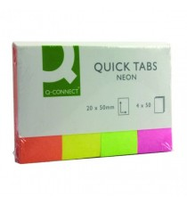 Q-Connect Quick Tabs 20x50mm Neon Pk200