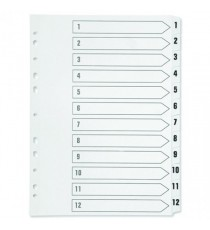 Q-Connect 1-12 Punched Index A4 White