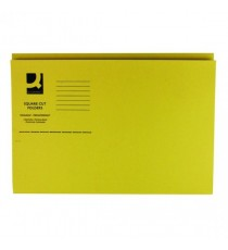 Q-Connect Sq Cut Folder 250g Yellow P100