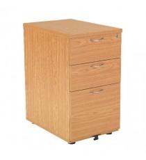 FF Jemini Oak 3 Drw Desk High Ped 600